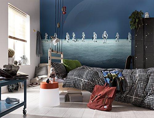 Komar 8-444 Fototapete aus Papier Star Wars – Scarif Beach, Größe 368 x 254 cm (Breite x Höhe), 8 Teile, inklusive Kleister, Made in Germany, Bunt