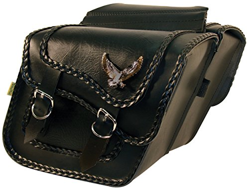 Dowco Willie & Max 58708-20 Black Magic Series: Synthetic Leather Compact Slant Motorcycle Saddlebag Set, Black, Universal Fit, 10 Liter Each/20 Liter Total Capacity, 12in.W x 9-1/2in.H x 5-1/2in.D