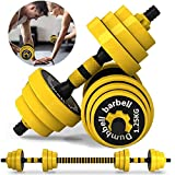 Weights Dumbbells Barbell Set – Adjustable Dumbbell Set – Weight Sets for Home Gym – Includes Connecting Rod – Anti-Slip Padded Design – Ideal for Men and Women, Home Pair of 44lbs (Yellow1-44lbs)
