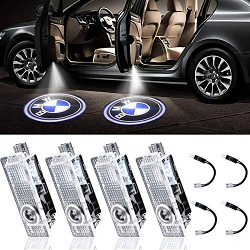 LED Car Door Light Projector Courtesy LED Laser Welcome Lights Ghost Shadow Light Logo Compatible with Accessories X1/X3/X4/X6/3/4/5/6/7/Z/GT Series-4 Pack