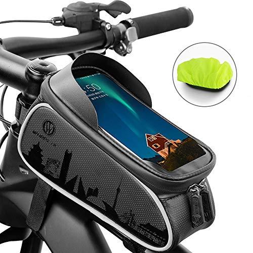 GAYISIC Fahrrad Rahmentasche, Wasserdicht Fahrradtasche TPU Touchscreen Lenkertasche Handyhalter Handytasche mit Kopfhörerloch und Reflektierender Streifen, für Smartphone unter 6,0 Zoll