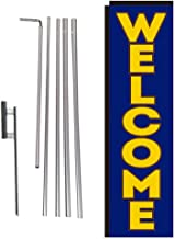 Blue Welcome Rectangle Feather Banner Flag with Pole Kit and Ground Spike for Outdoor Advertising – Large Signs for Businesses by Feather Flag Nation