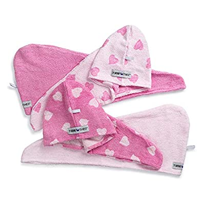 Turbie Twist Hair Towels Cotton (4 Pack) Pink Heart / Solid