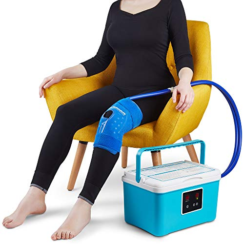Cold Therapy Machine — Cryotherapy Freeze Kit System — for Post-Surgery Care, ACL, MCL, Swelling, Sprains, and Other Injuries — Wearable, Adjustable Knee Pad — Cooler Pump with Digital Timer