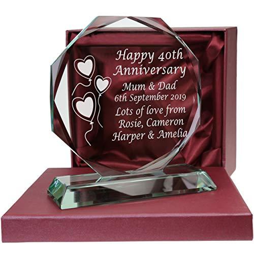 De Walden 40th Ruby Wedding anniversary Engraved Presentation Cut Glass 40...