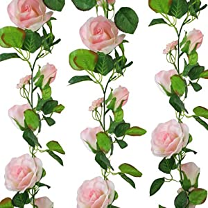 Pink Silk Rose Garland – Wedding Decoration