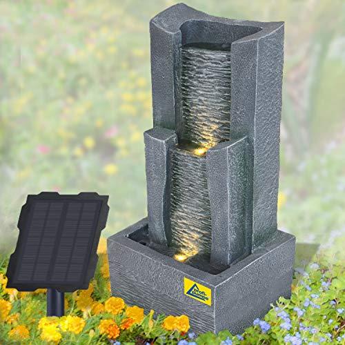 Solar Gartenbrunnen Brunnen Solarbrunnen Zierbrunnen Wasserfall lichtgrau Gartenleuchte Teichpumpe für Terrasse, Balkon, mit Pumpen-instant-Start-Funktion mit Liion-Akku & Led-Licht (STEIN-KASKADE)