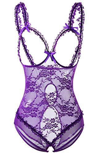 Acramy Damen Reizwäsche Body Offener Schritt Große Größen Dessous Ouvert (4XL, A-violett)