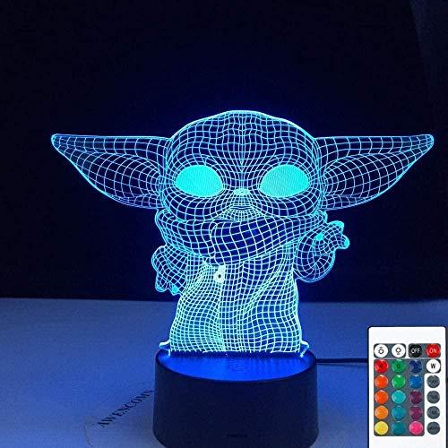 3D ilusión lámpara LED noche luz bebé yoda meme figura para niños niño dormitorio decoración lámpara de mesa bebé mini yoda