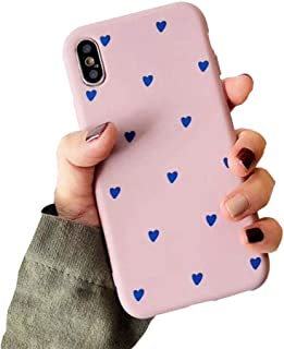 BONTOUJOUR iPhone X/iPhone XS Phone Case, Beautiful Art Polka Dot Flower Little Heart Pattern Serie Cover Case Soft TPU 360 Degree Good Protection- Matte Little Heart-Pink