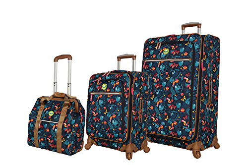Lily Bloom Luggage 3 Piece Softside Spinner Suitcase Set Collection (Sloth To Me)