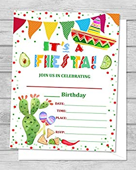 Fiesta Birthday Party Invitations Mexican Theme Birthday Invites Set of 20 Mexican Hat Cactus Nachos Sombrero Fiesta Party Invites fill In The Blanks Size 4.25  x 5.5