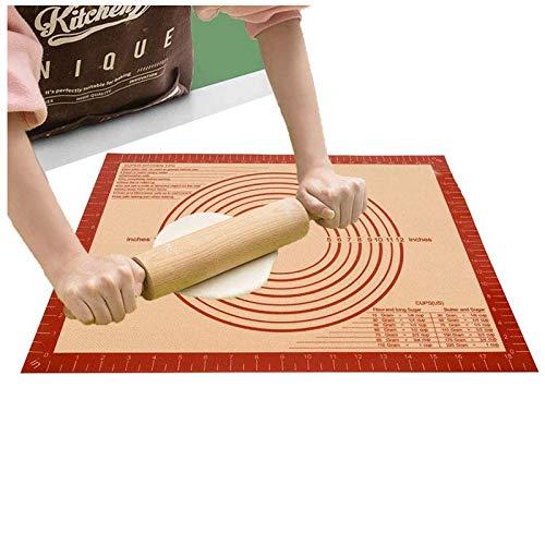 ZONSUSE Ripiano per impastare Spianatoia per impastare Webake tappetino Tappetino da cucina in silicone Stuoia di Pasta Fondente Torta Stuoia Pasticceria Antiscivolo con Misure Carta (71.1*50.8*0.07cm