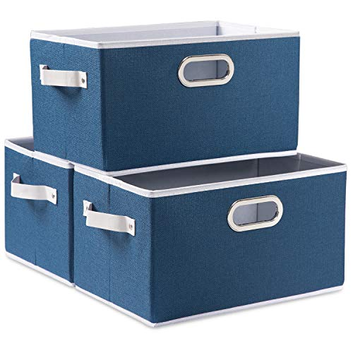 Prandom Large Collapsible Storage Baskets for Closet 3-Pack Decorative Fabric Storage Bins Cubes with LeatherMetal Handles for Shelves Bedroom Living Room Royal Blue 149x98x83 Inch