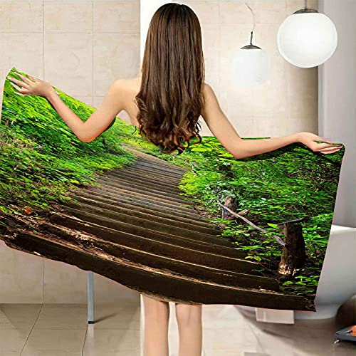 CGBNDS Large Microfiber Beach Towel Grass Step Ladder Landscape Bath Towel Sports Towel/Swimming Towel/Pool Towel Hand Towel 40x71inch for Kids and Adults Girls Women Men Best for Travel Camping