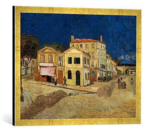 Kunst für Alle '–Fotografía enmarcada de Vincent Van Gogh La casa Amarillas, de impresión handgefertigten imágenes de Marco, 70x 50cm, Oro Raya