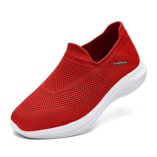 Lamincoa Women's Sock Walking Shoes - Comfortable Mesh Slip on Easy Sneakers Casual Athletic Shoes Wide Width Red Size 7
