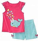 Girl Summer Short Set Cotton Outfits Pink Fish Top Shirt Check Shorts Pant 2PC Set 2t