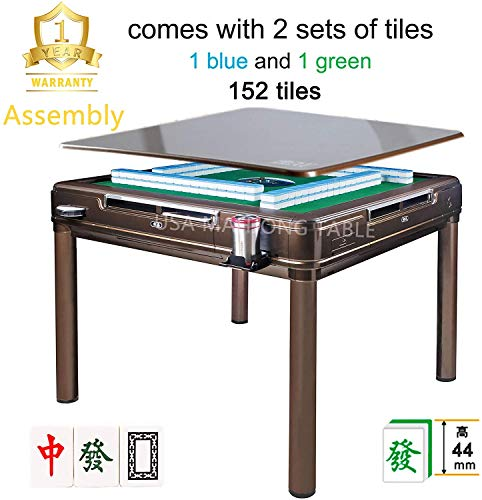 44 mm X-Large Tiles Automatic Mahjong 4Legs Dining / Game Table, Chinese Style, Comes 2 Sets of Magnetic Tiles (Blue &...