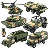 Durable Seis de cada uno aleación de metal fundido y coches de juguete Set ambulancia del vehículo blindado helicóptero simulado tanque modelo del vehículo militar de la colección del regalo cognitiva