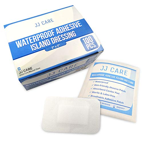 "JJ CARE [Pack of 100] Waterproof Adhesive Island Dressing 2"" x 3"", Sterile Wound Dressing, Adhesive Bandages, Breathable Bordered Gauze Pads, Latex Free, Individually Wrapped, Composite Dressing"