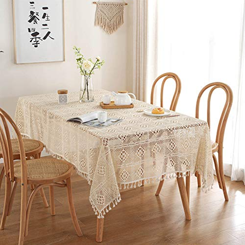 Baoer - Mantel de encaje rectangular hecho a mano con ganchillo, mantel de encaje bordado de encaje para mesas rectangulares de fiesta, color beige 140 x 180 cm