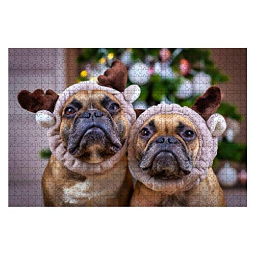 Wooden Puzzle 1000 Pieces Pair of Cute Brown French Bulldog Dogs Dressed up as Reindeers with Jigsaw Puzzles for Children or Adults Educational Toys Decompression Game