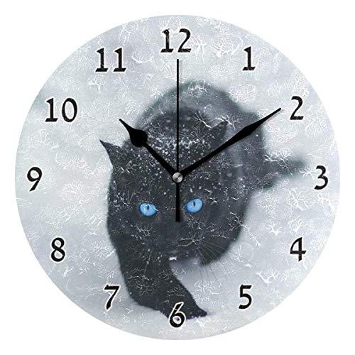 zhenglongbaihuodian Wohnkultur Schwarze Katze Blaue Augen runden Stil C, stille Nicht tickende Wanduhr, batteriebetriebene Kunst dekorativ für Küche, Wohnzimmer, Kinderzimmer und Kaffee (10 Zoll)