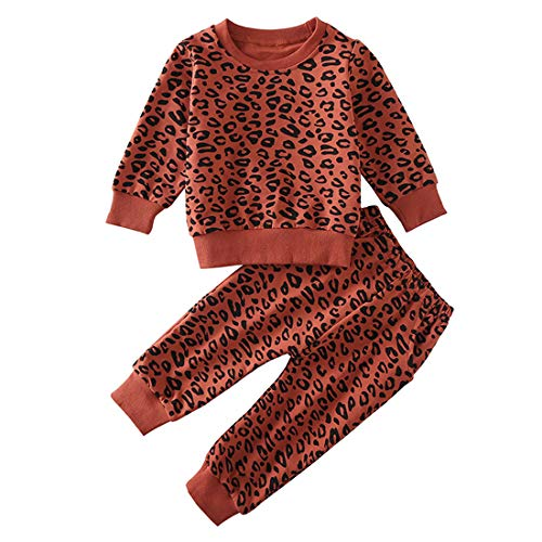 Toddler Baby Girls Leopard Print Summer Clothes Set T-Shirt and Short Pants 2pcs Outfits (5-Brick red(Long Sleeve), 5T)