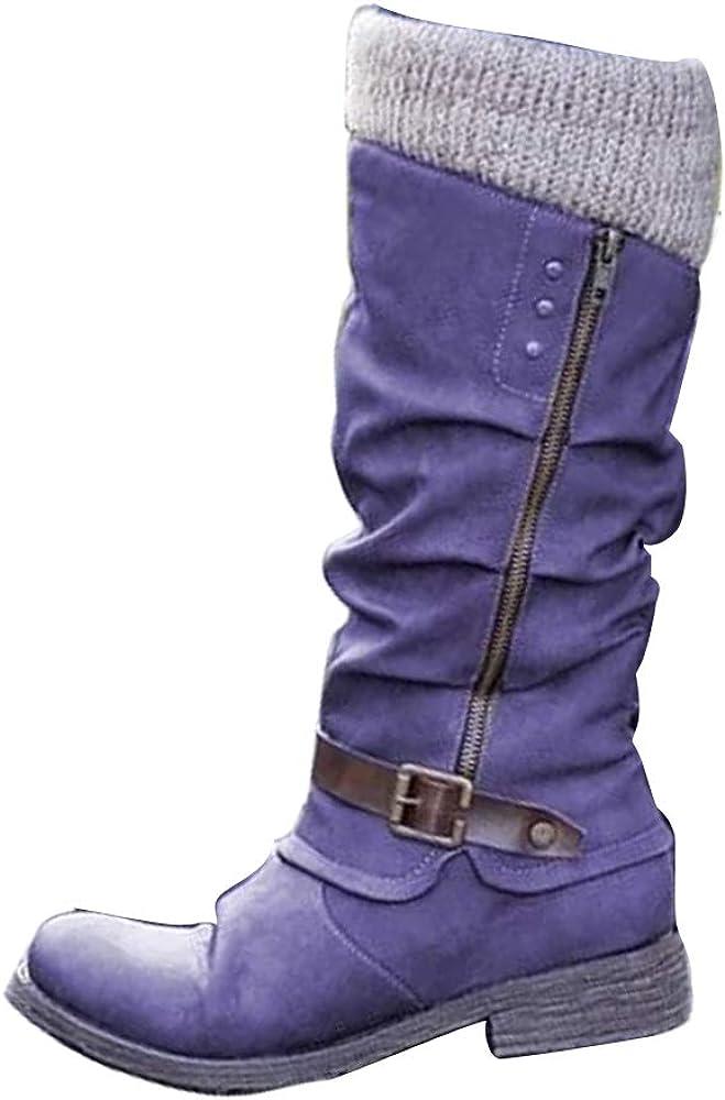 Allure love Women's Motorcycle Side Zipper Mid Calf Western Style Cowboy Knight Boots