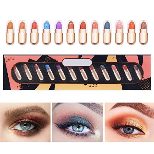 Sombra de Ojos Stick, Lápiz de Sombra de Ojos, Eyeshadow Pen, 12 colores brillo sombra de ojos, Maquillaje Sombra de ojos Polvo Duradera a prueba de agua