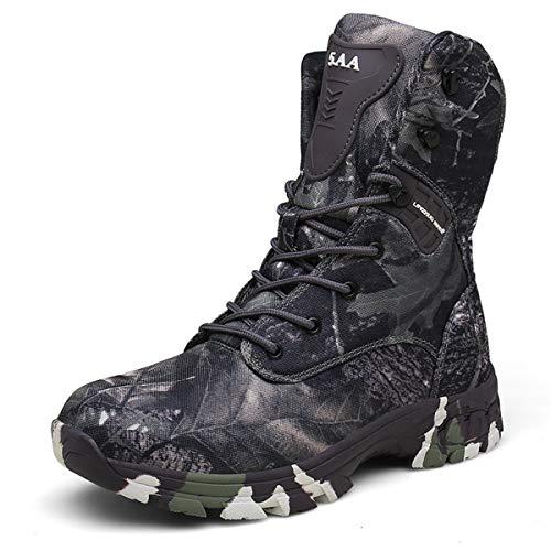 Doubjoy Bota de Caza para Hombres, Bota de Senderismo Transpirable de Altura Media para Exteriores Botas de Camuflaje Botas tácticas Q3 Zapatos de Camuflaje Botas Altas (45 EU,Gray)