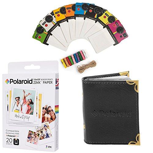 Polaroid 3.5 x 4.25 inch Premium Zink Photo Paper (20 Sheets) + Colorful Vintage Photo Frames + Photo Album (Compatible POP)