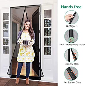 """[Upgraded Version] Homitt Magnetic Screen Door with Durable Fiberglass Mesh Curtain and Full Frame Velcro Fits Door Size up to 34""""x82"""" Max- Black"""