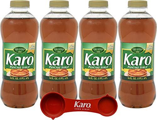Karo Pancake Syrup 16 Ounce Bottle Pack of 4 with Karo Measuring Spoon