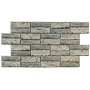 Panel de PVC de 0,4 mm de grosor, imitación piedra expandida clara, 98 x 48 cm