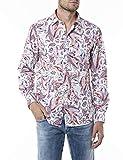 REPLAY M4053 Camisa, 010 White/Rose Paisley, XS para Hombre