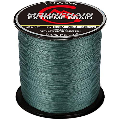 Mounchain Braided Fishing Line Abrasion Resistant Braided Lines 4 Strands Super Strong PE Fishing Line 547 Yards 20lb Dark Green