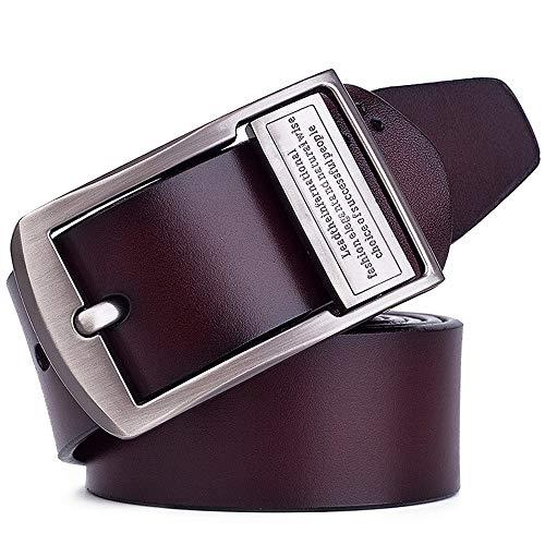 Riem voor heren Men's Belt Silver Claw Buckle Belt Trinity Jeans lederen band Father's Gift Heren Ultra-Soft Leather Belt Zakelijke kansen, woon-werkverkeer (Color : Brown, Size : 125cm)