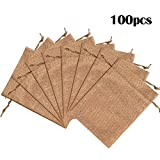 """Lucky Monet 25/50/100PCS Burlap Gift Bags Wedding Hessian Jute Bags Linen Jewelry Pouches with Drawstring for Birthday, Party, Wedding Favors, Present, Art and DIY Craft (100Pcs, Coffee, 4"""" x 6"""")"""