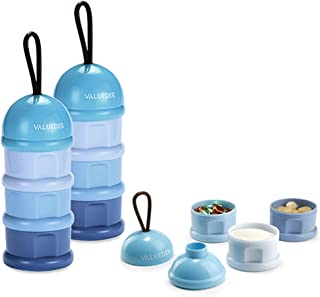 Baby Snack Containers & Milk Powder Formula Dispenser, No Powder Leakage Twist-Lock Stackable, 2 Pack, Blue