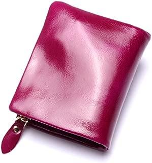 Leather 2018 New Zipper Leather Men's Leather Wallet Ladies Clutch Wallet Purse Wallet Waterproof (Color : Purple, Size : S)