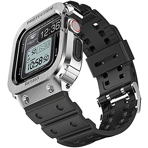 amBand Cinturino Sportivo Militare Comapatibile con Apple Watch 44mm, Traspirante Cinturino di Ricambio con Custodia per iWatch 44 mm Series SE 6 5 4 Silver