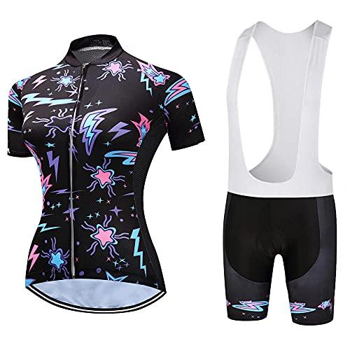 HXTSWGS Maillot Ciclismo de Mujer Verano, Transpirable y elástico Maillot Ciclismo y Pantalon para MTB, Ropa Ciclismo para Bicicleta de Carretera-A02_3XL