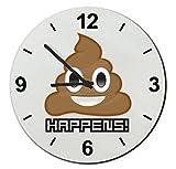 Cristal reloj 'déjections–Mierda, Shit Happens,' regarder- Ø18- ø20- ø30- Smiley- Emoji- astuces de Navidad, cristal, Ø20 cm