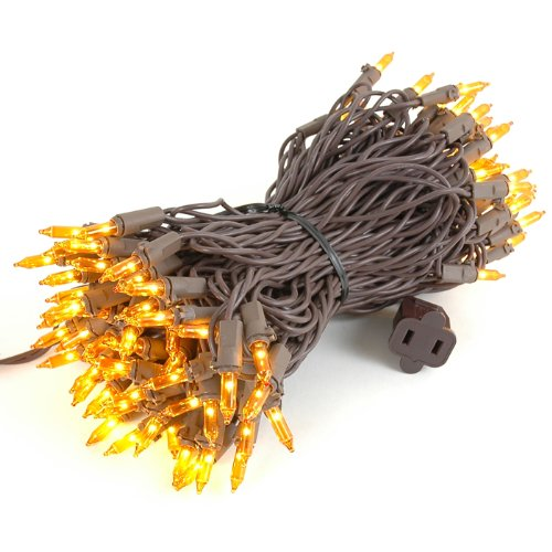 Novelty Lights 100 Light Amber Christmas Mini String Light Set, Brown Wire, Indoor/Outdoor UL Listed, 50' Long