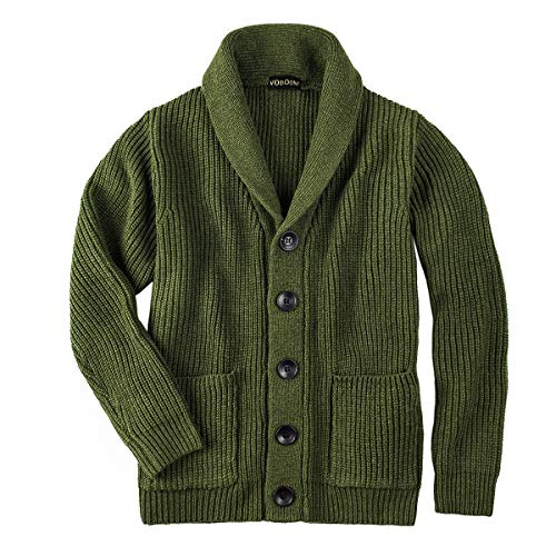 VOBOOM Men's Knitwear Button Down Shawl Collar Cardigan Sweater with Pockets (Army Green, M)