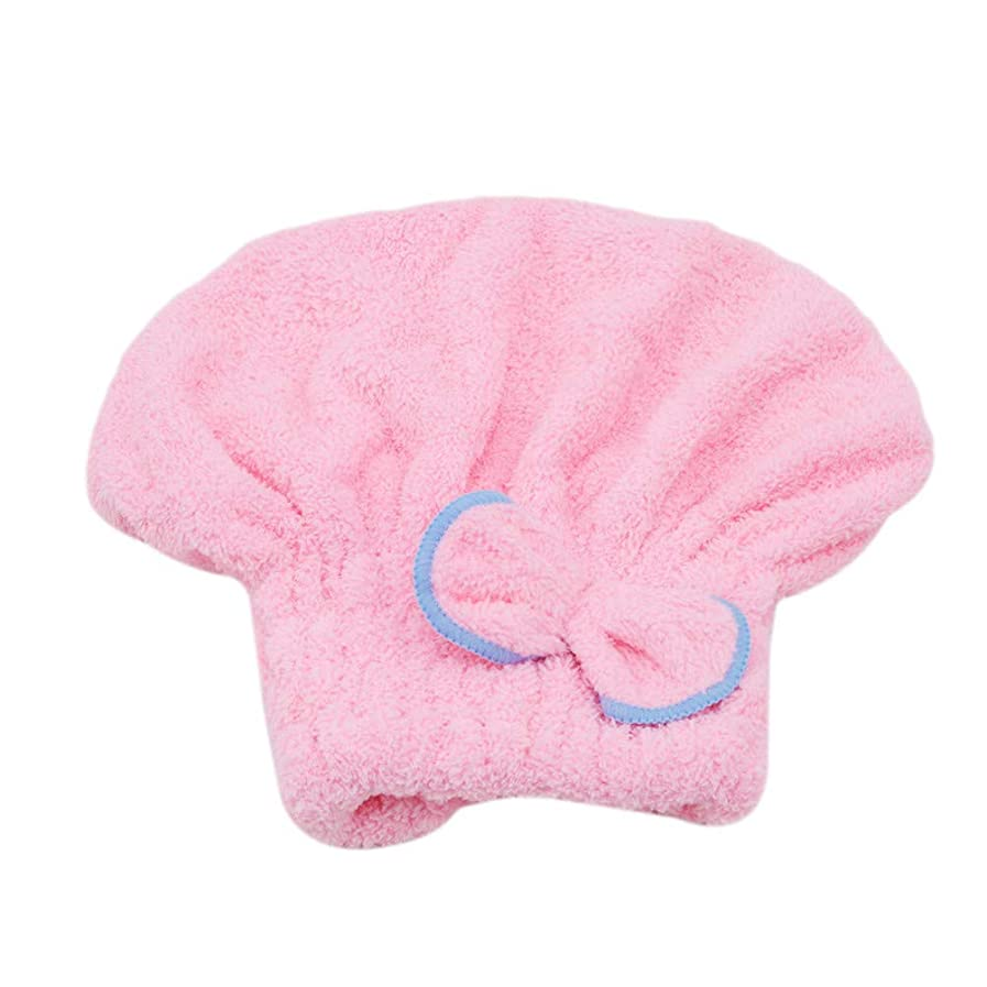 クモママミュートFlybloom マイクロファイバーシャワー浴槽ターバンタオルゴムバンドスパバスキャップ帽子かわいい保護ヘアシャワー浴槽ルームアクセサリー(ピンク)