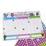 ewtshop® Monster - Pizarra de recompensa (28,7 x 21,3 cm, con 450 pegatinas, sistema de recompensa para hasta 3 niños)