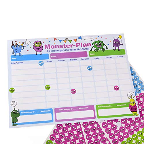 ewtshop Monster - Pizarra de recompensa (28,7 x 21,3 cm, con 450 pegatinas, sistema de recompensa para hasta 3 niños)